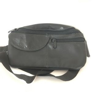 Black Leather Fanny Pack  Waist / Belt Bag  Zipper